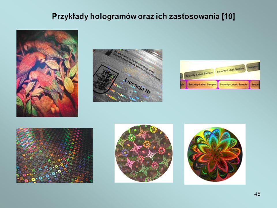 Przykłady hologramów oraz ich zastosowania [10]